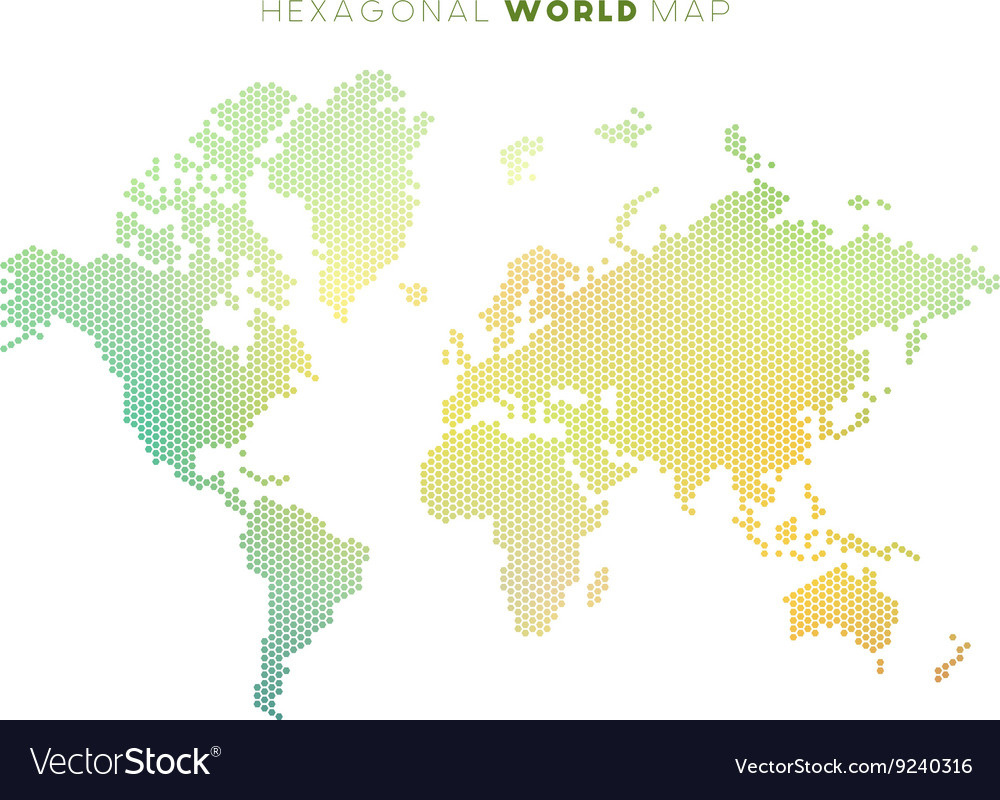 Hexagonal world map royalty free vector image vectorstock hexagonal world map vector image gumiabroncs Gallery