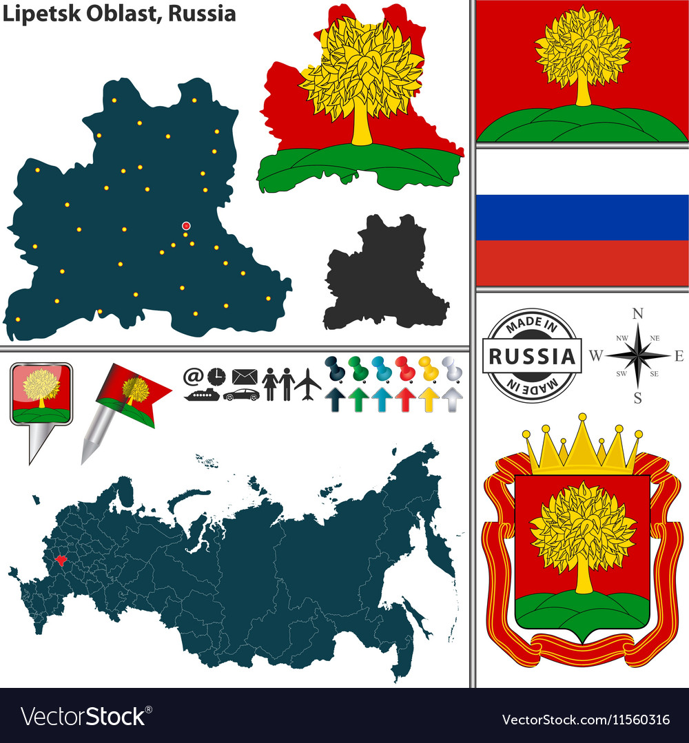 Map of Oblast of Lipetsk Royalty Free Vector Image