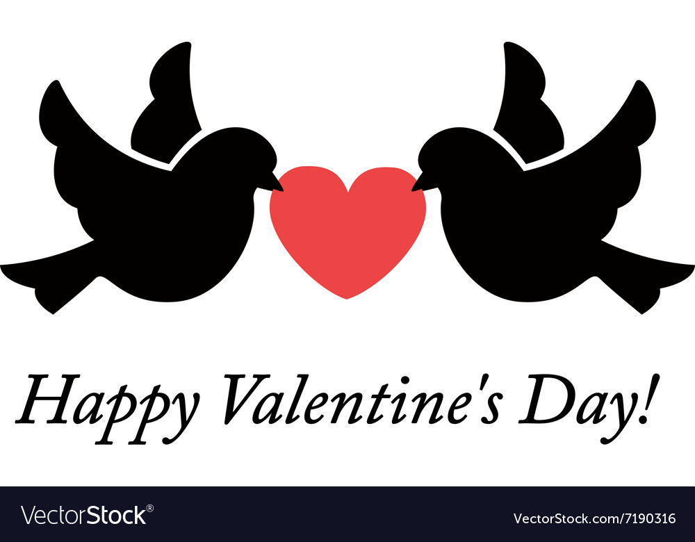 Two doves holding heart vector image
