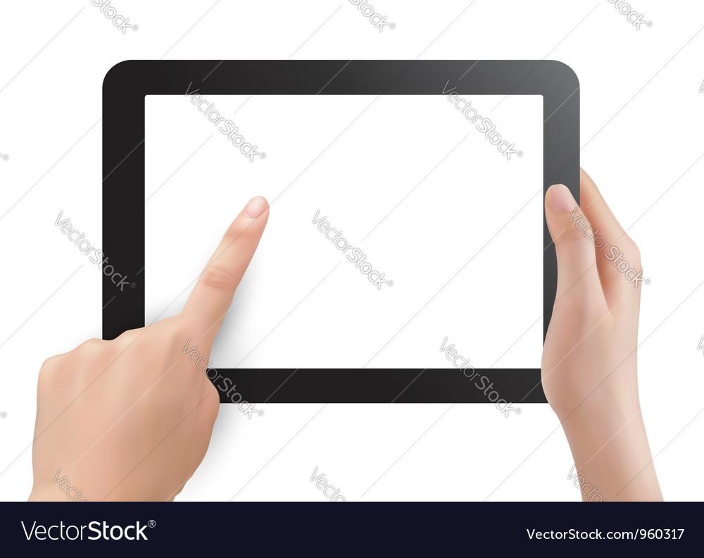 Hands holding digital tablet pc vector image