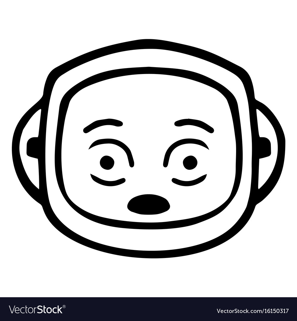 Thin line shocked face icon vector image