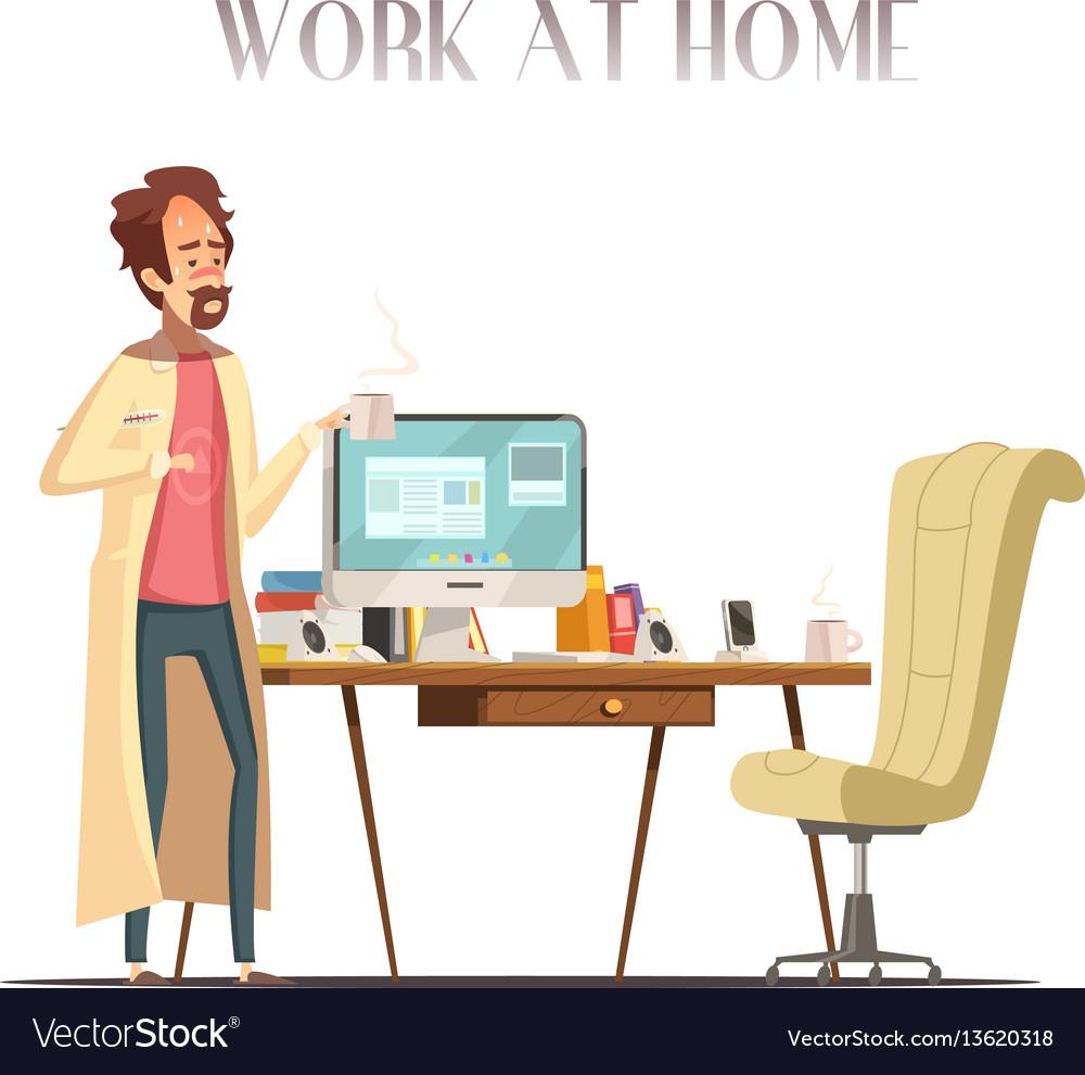 Sick man home retro cartoon image vector image
