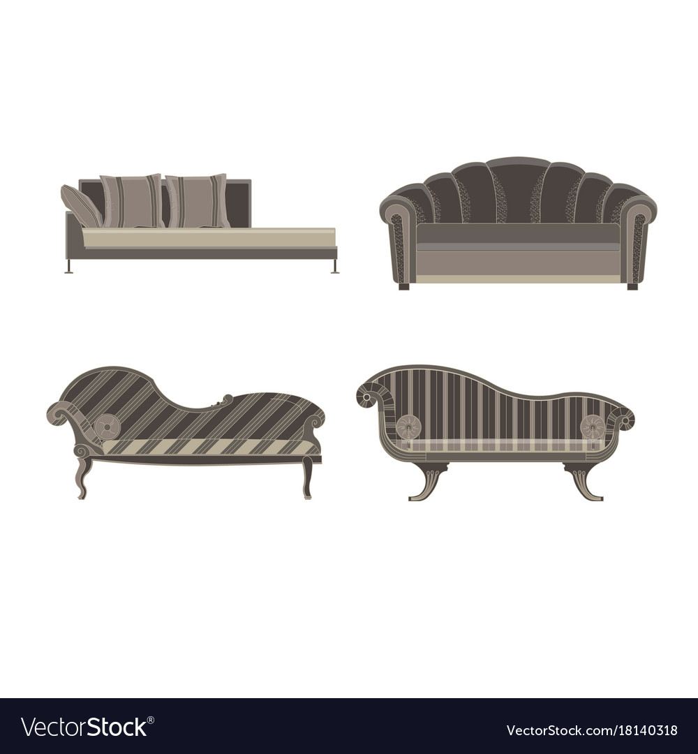 Sofa set furniture room interior living chair vector image