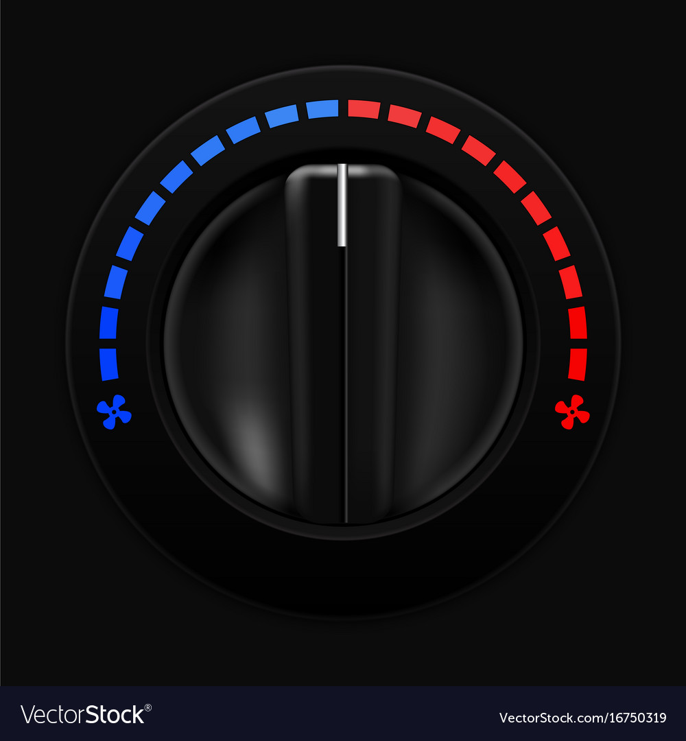 Air temperature selector car dashboard black vector image
