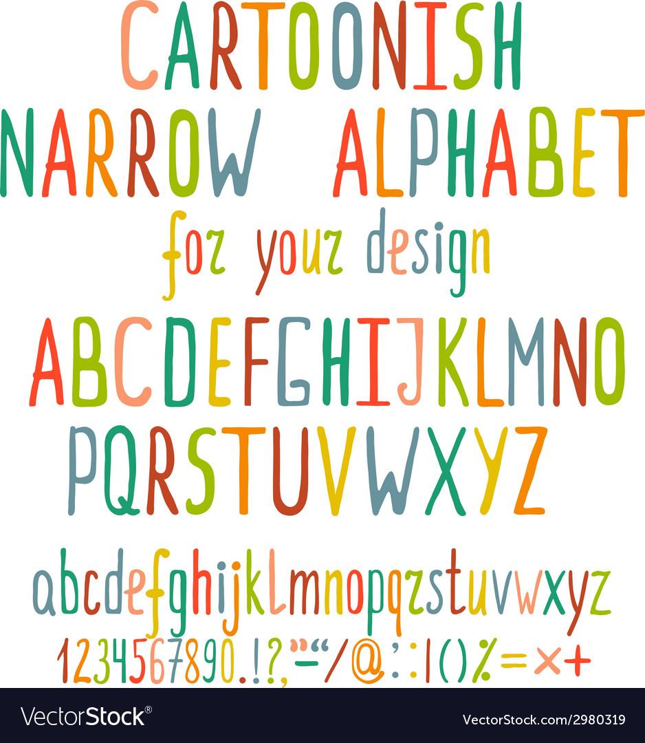 Hand Drawn Cartoon Alphabet Letters vector image