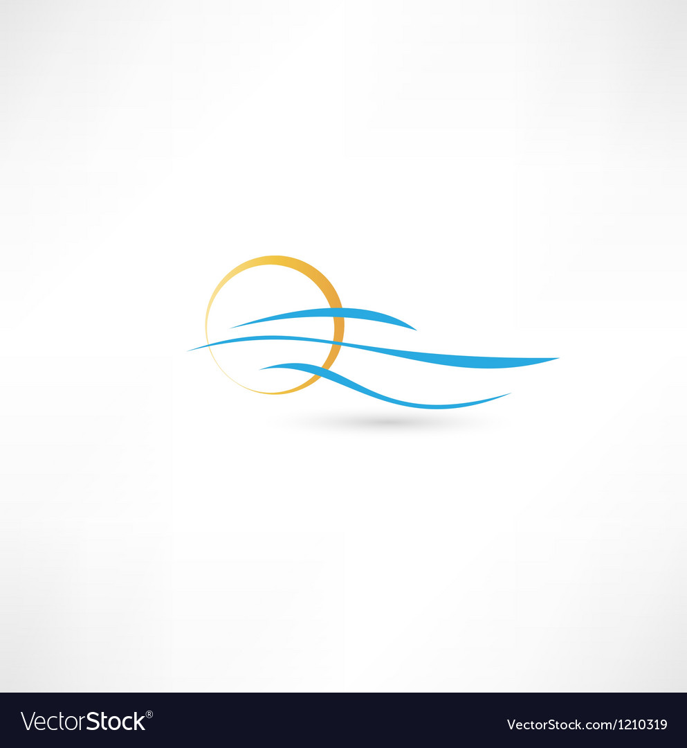 Sea waves and rising sun vector image