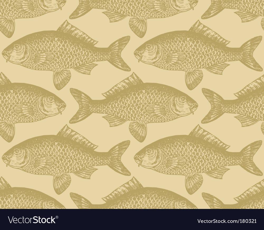 Vintage fish pattern vector image