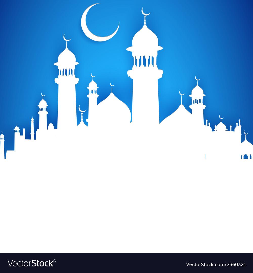 Eid ka Chand Mubarak Wish you a Happy Eid Moon vector image