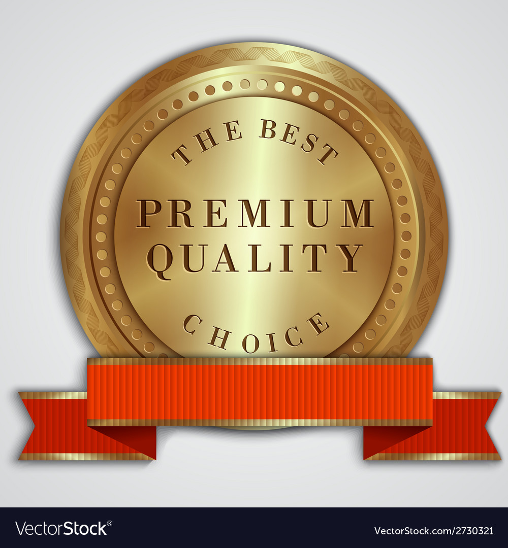 Round golden badge label with red ribbon and text vector image