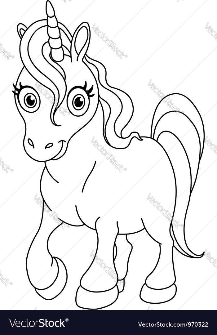 Outlined cute unicorn vector image