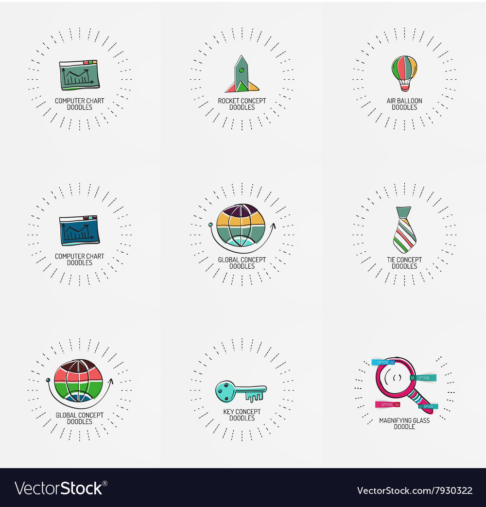 Set of hand drawn design elements in vector image