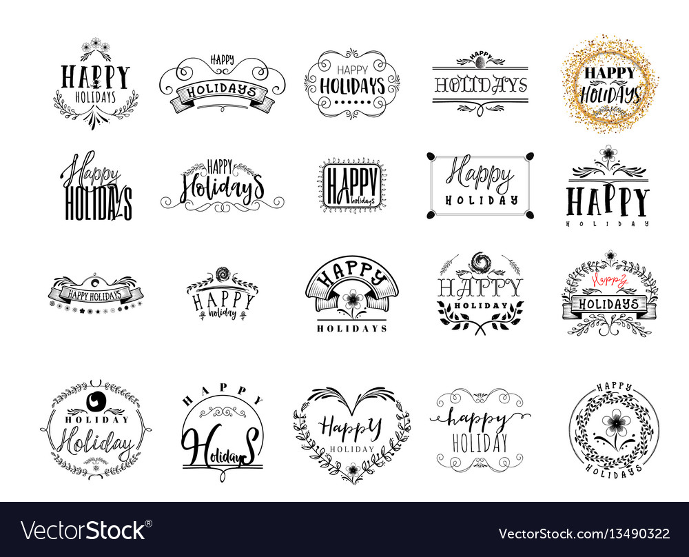 Typographic badges - happy holidays on the basis vector image