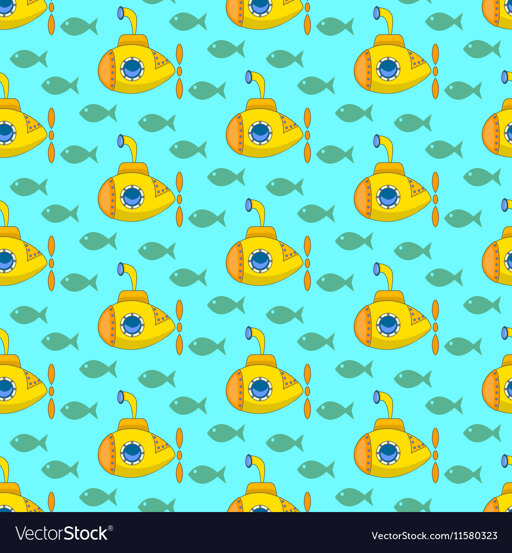 Yellow submarine pattern vector image