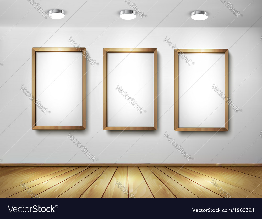 empty wooden frames on wall with spotlights and vector image - Wooden Frames