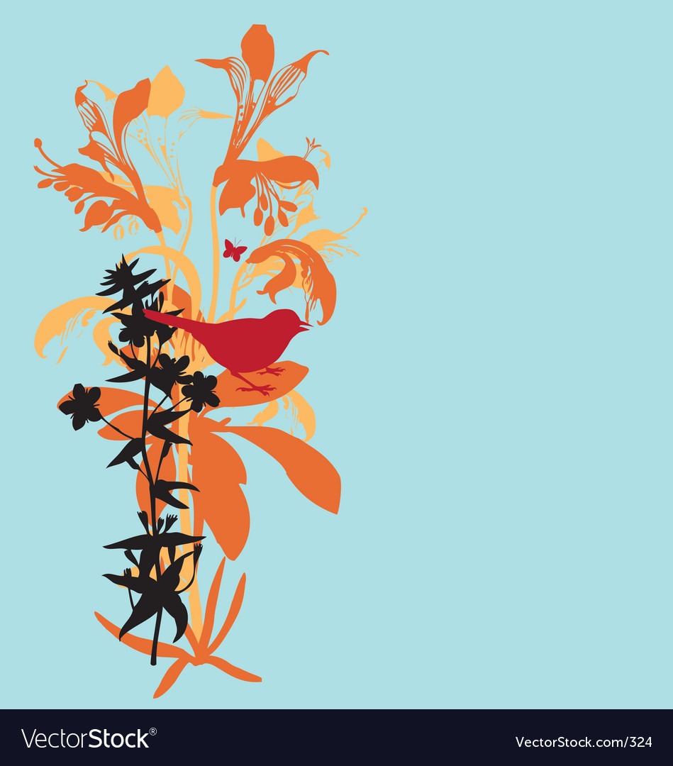 Lily and bird vector image