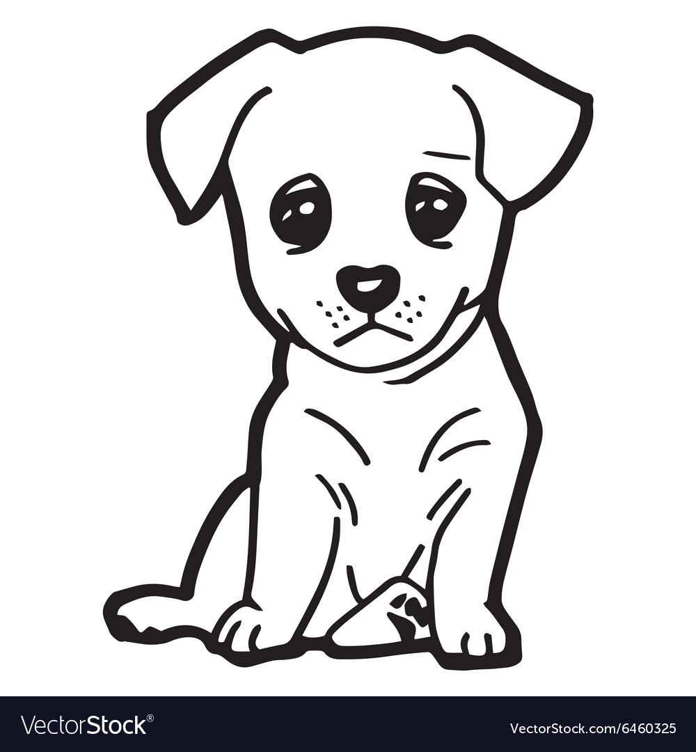 Cute Dog Coloring Pages Mesmerizing Cute Dog Coloring Page Royalty Free Vector Image Design Decoration