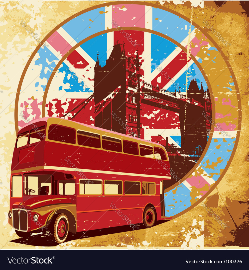 Double-decker bus grunge vector image