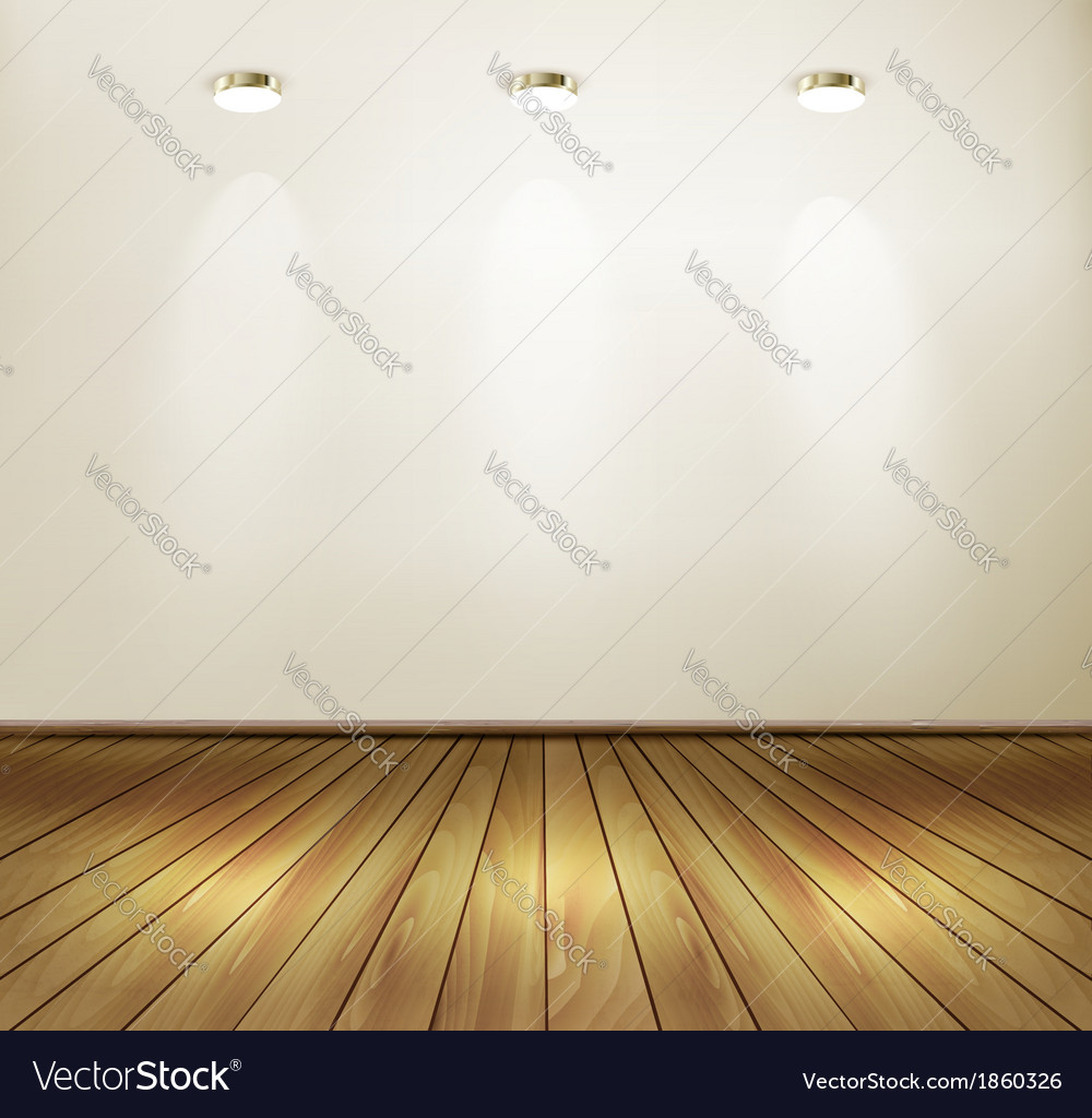 Empty room with wall and yellow wooden floor vector image