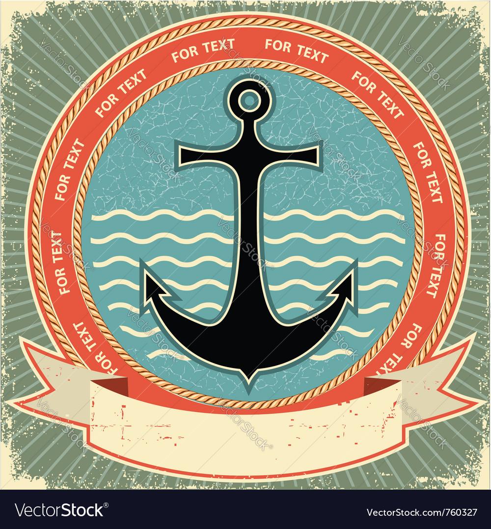 Nautical anchor vintage vector image