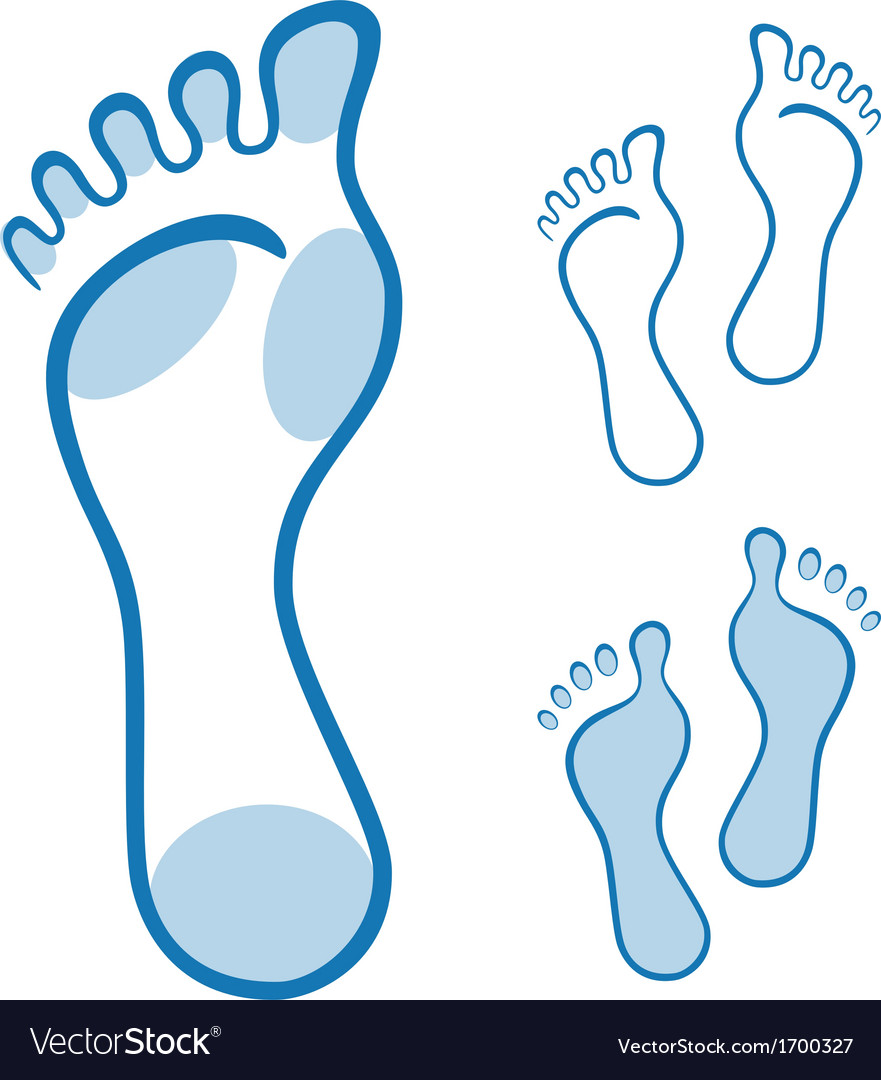 Feet made with curved lines vector image