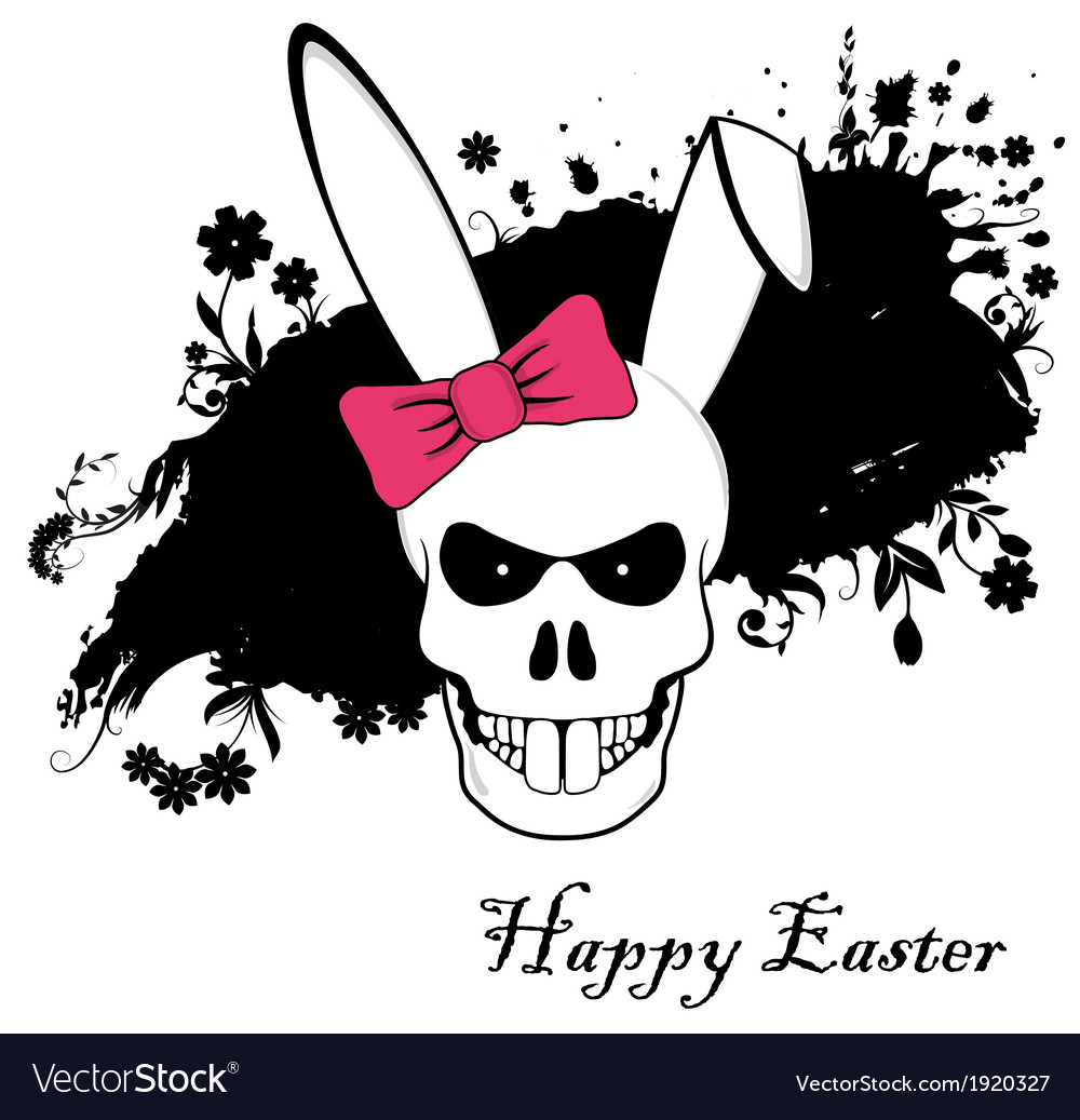 Funny Easter Bunny skull with red bow vector image