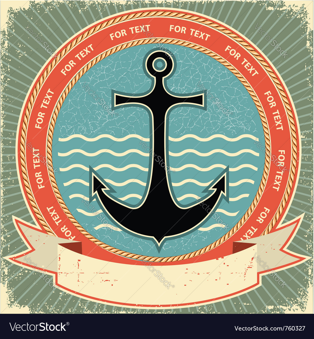 Nautical anchor vintage vector image