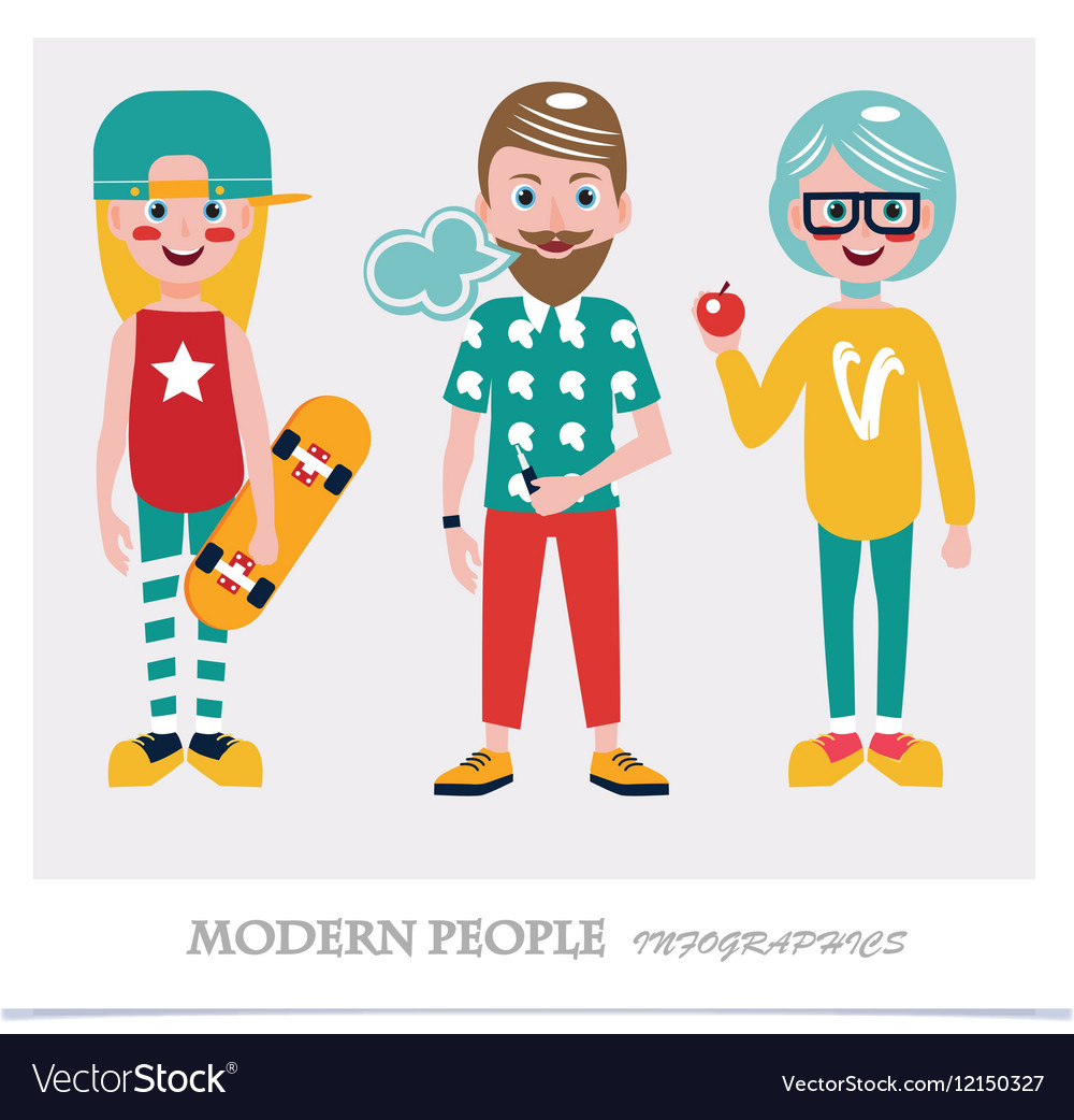 Set of cool modern people Infographics vector image