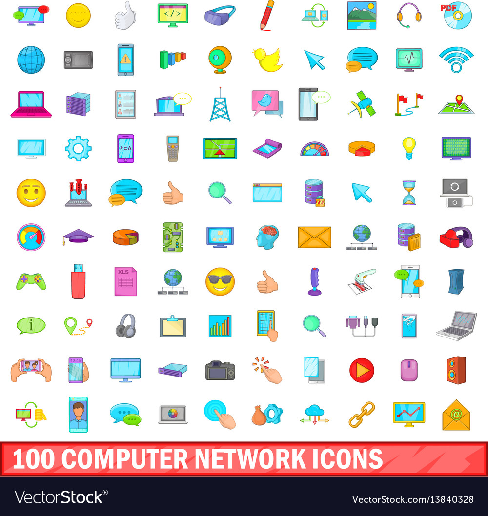 100 computer network icons set cartoon style vector image