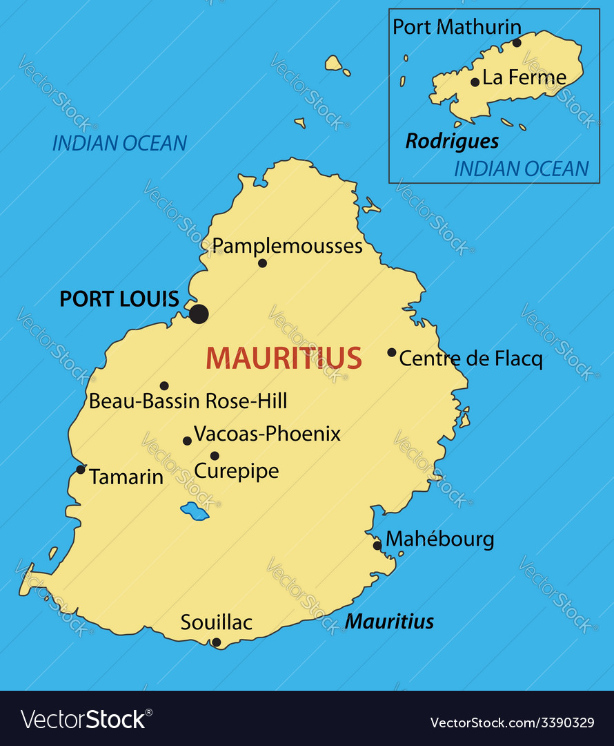 Republic of Mauritius map Royalty Free Vector Image