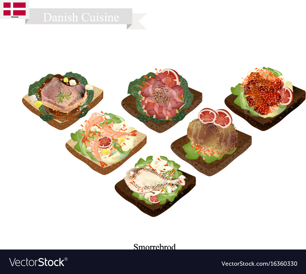 Delicious smorrebrod the national dish of denmark vector image