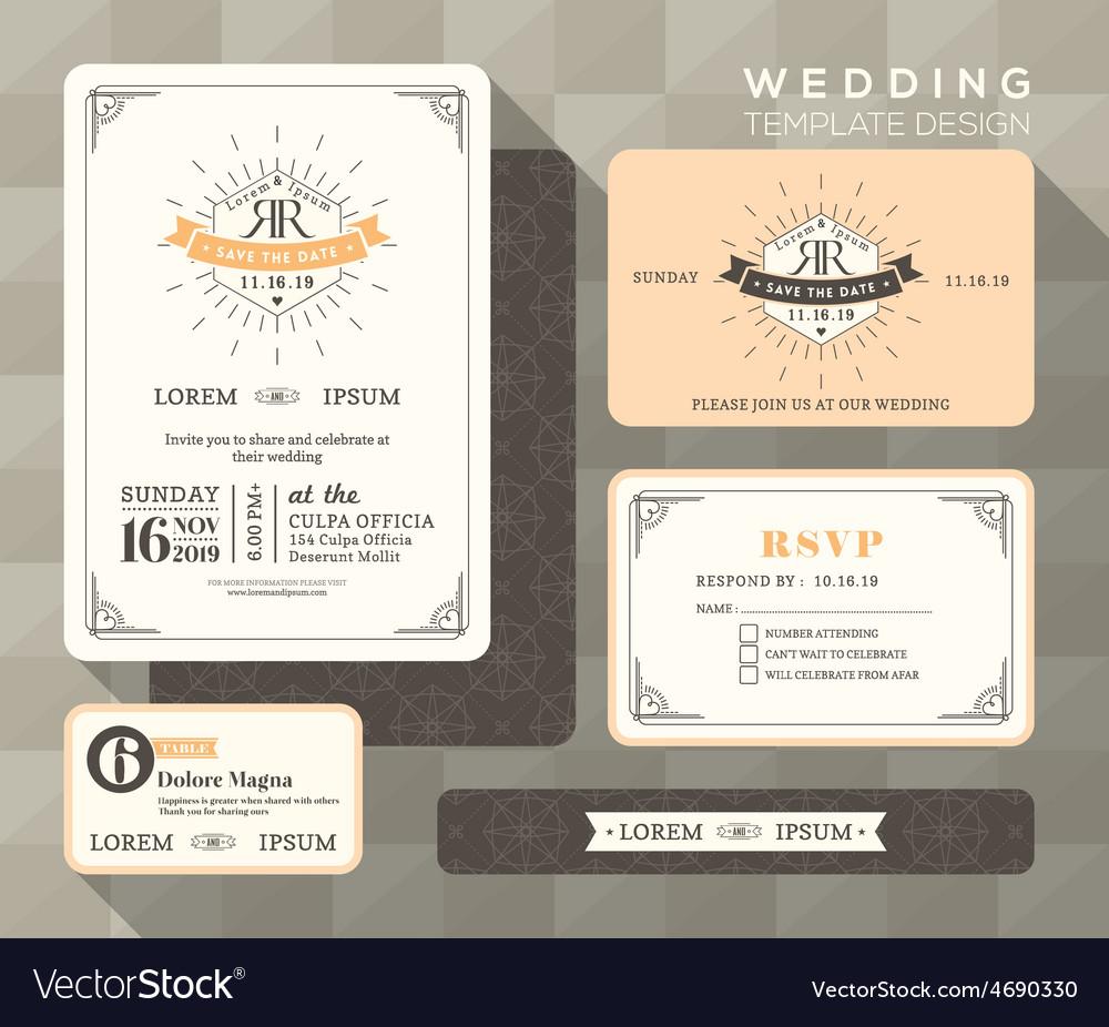 Vintage Wedding Set linear vector image