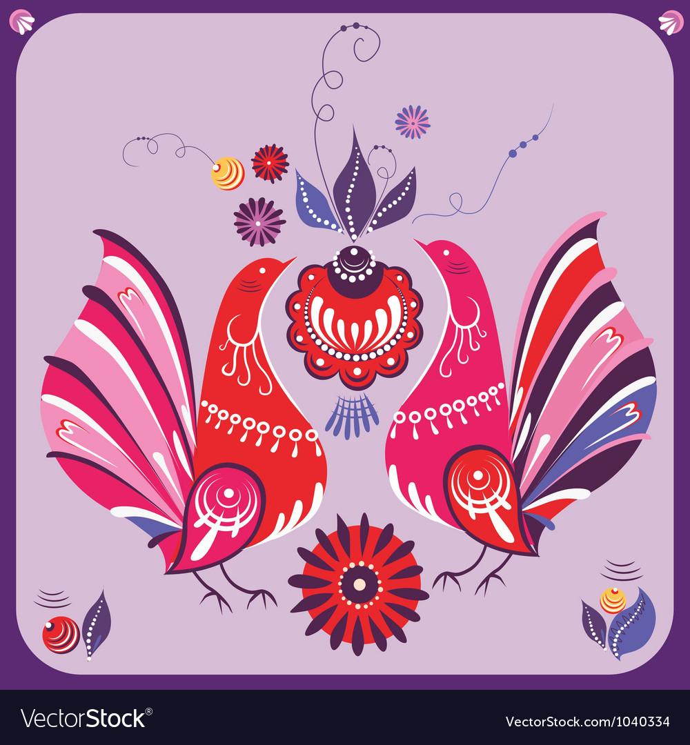 Ornamental Gorodets style birds vector image