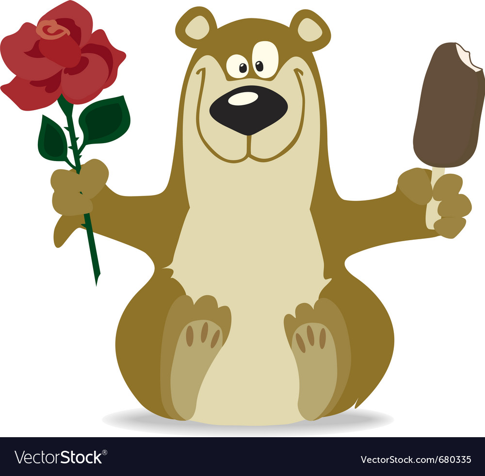 Smiling bear with red rose vector image