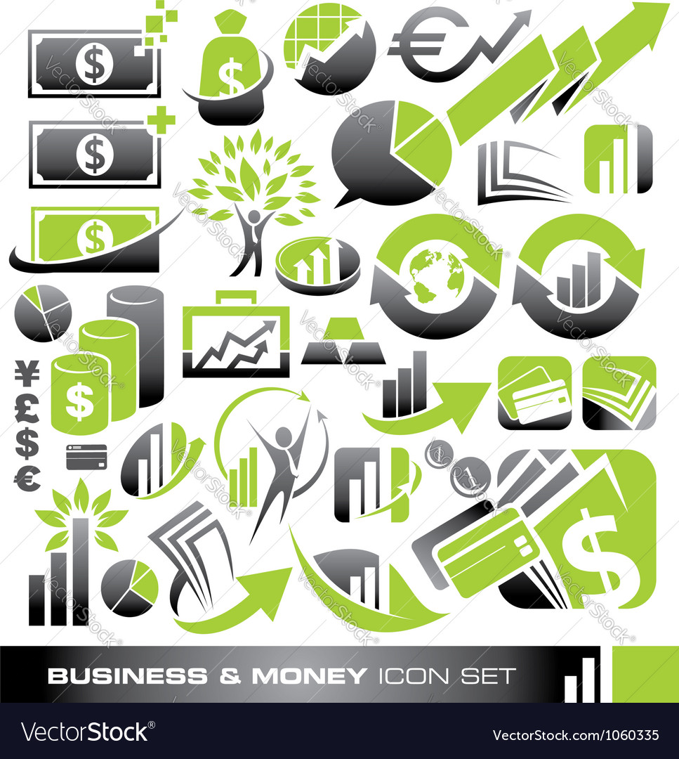 Business and money icon set vector image