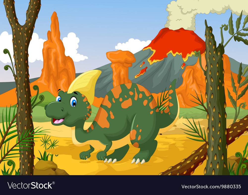 Cute parasaurolophus cartoon with volcano vector image