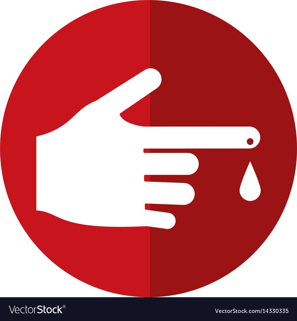 Hand blood drop symbol shadow vector image