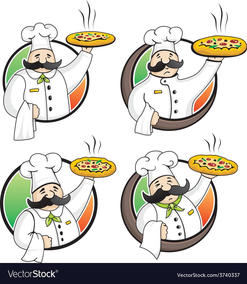 Chef pizza vector image