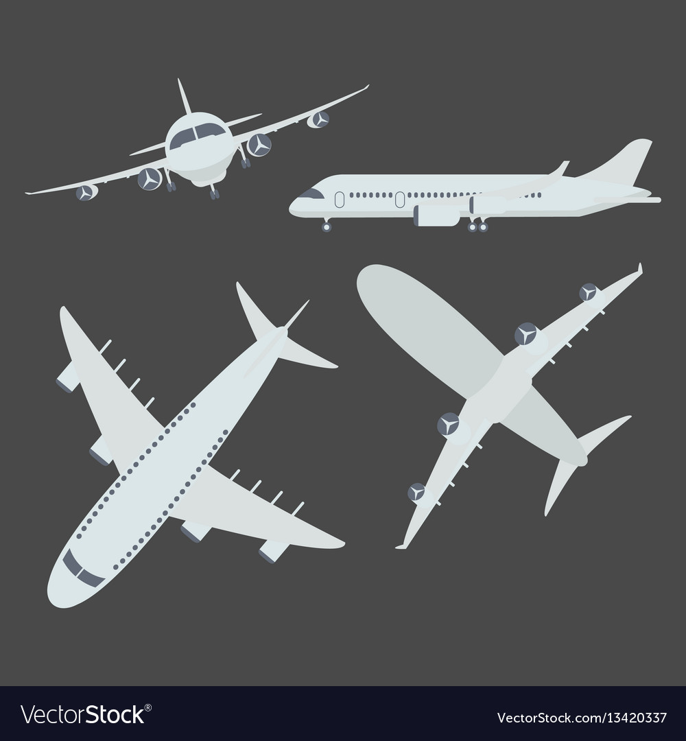 Set of aircraft airplane vector image