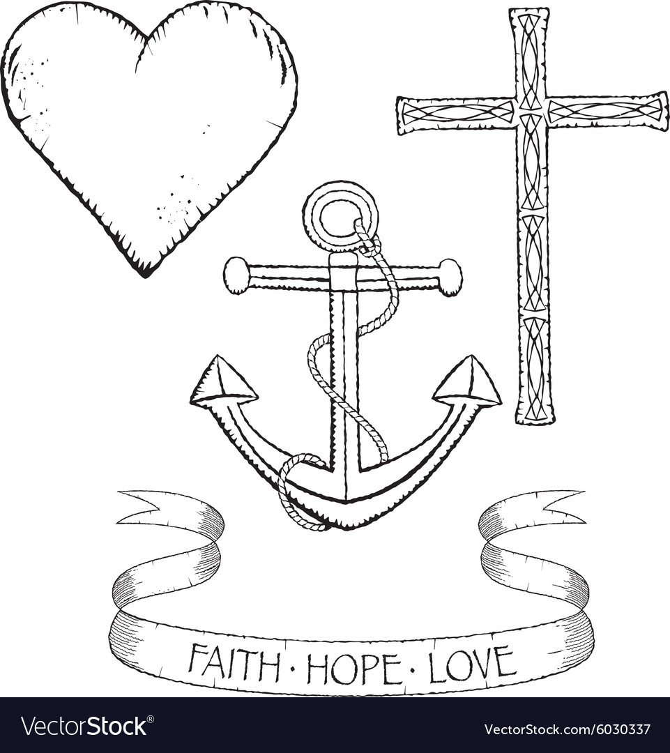 symbols for faith hope and love royalty free vector image