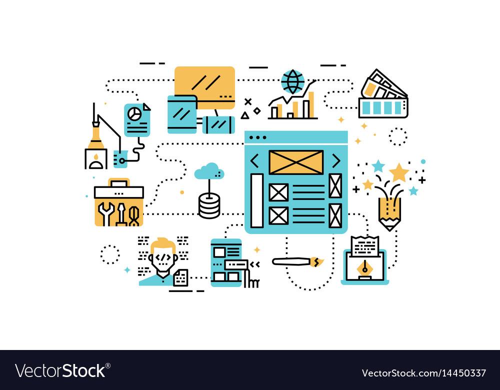 Web design line icons vector image