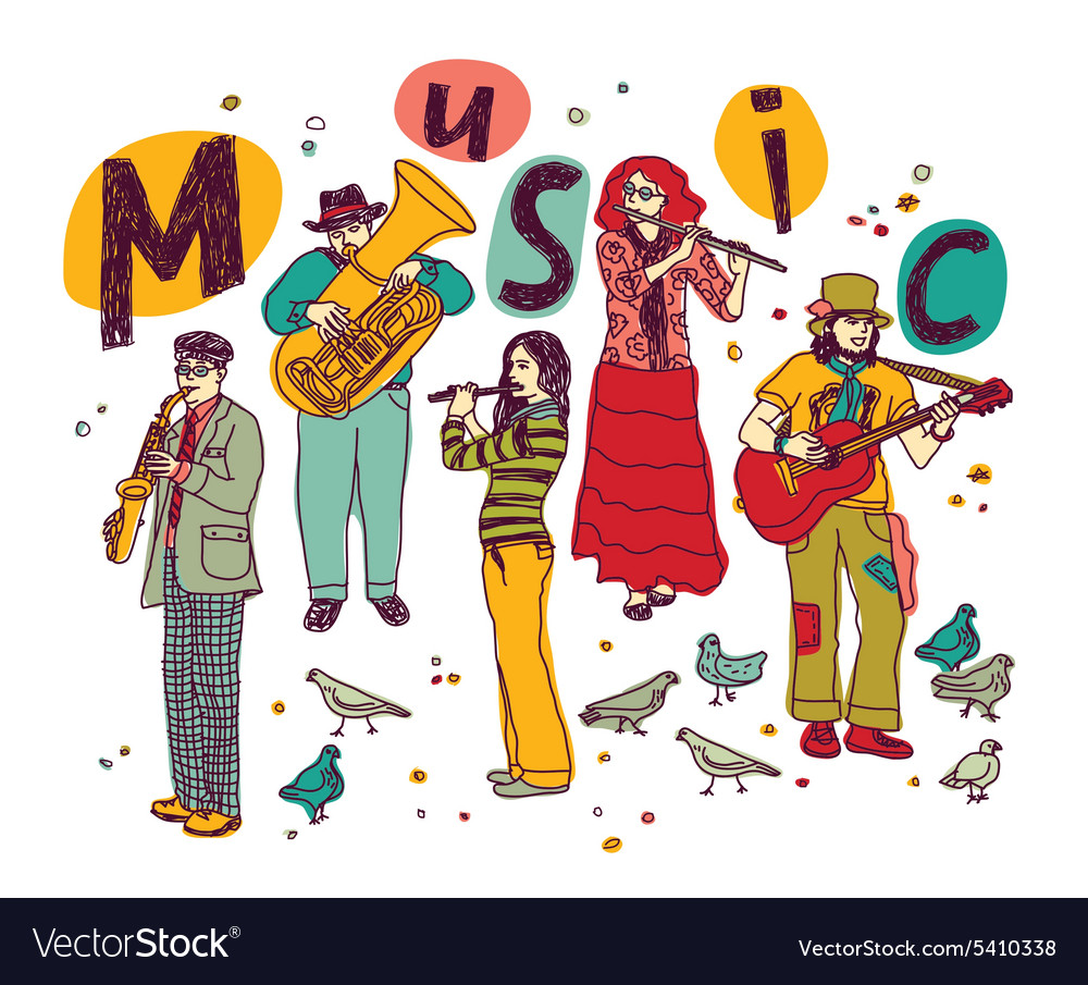 Music group people isolate white vector image