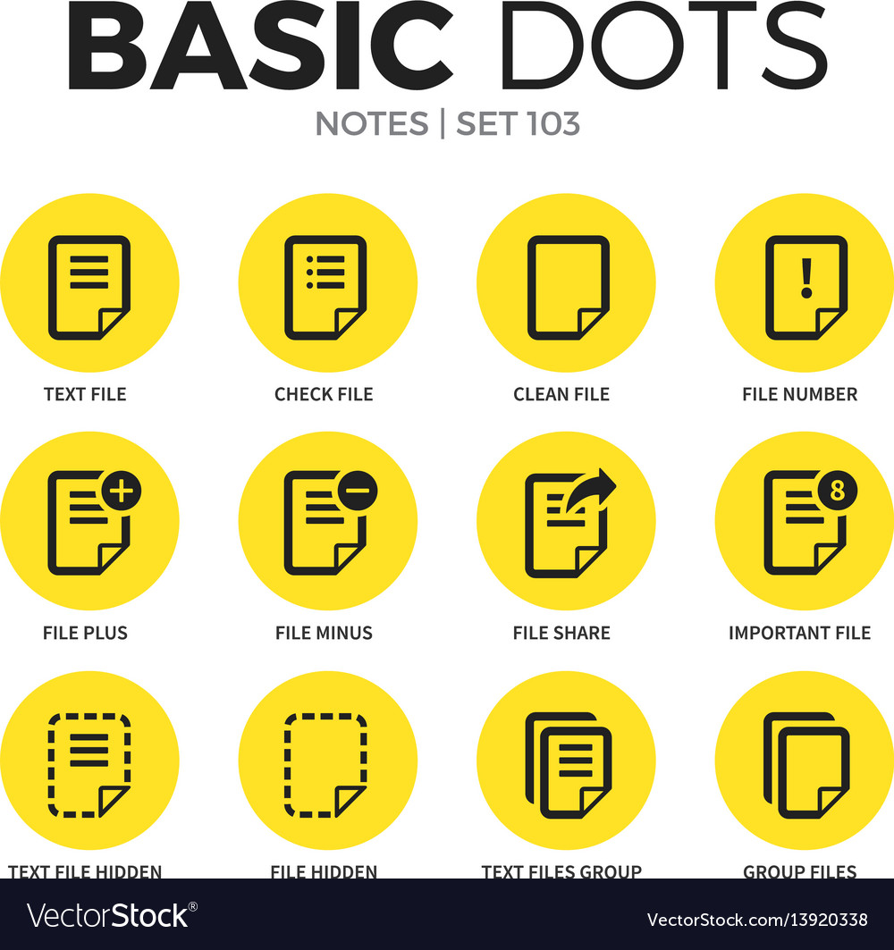 Notes flat icons set vector image