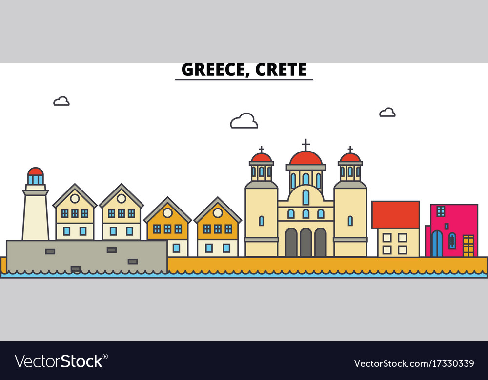 Greece crete city skyline architecture vector image