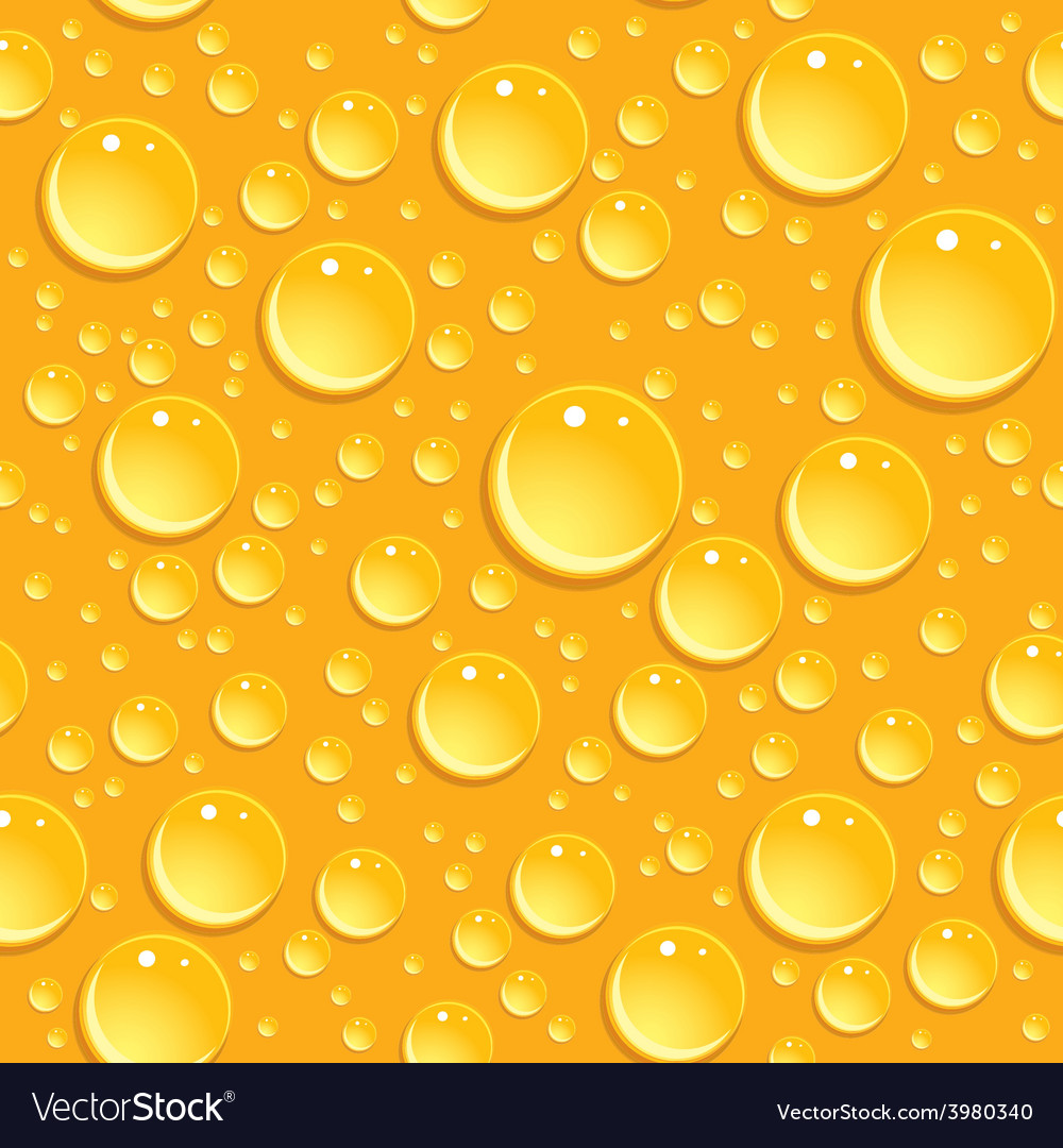 Seamless beer foam background with drops vector image