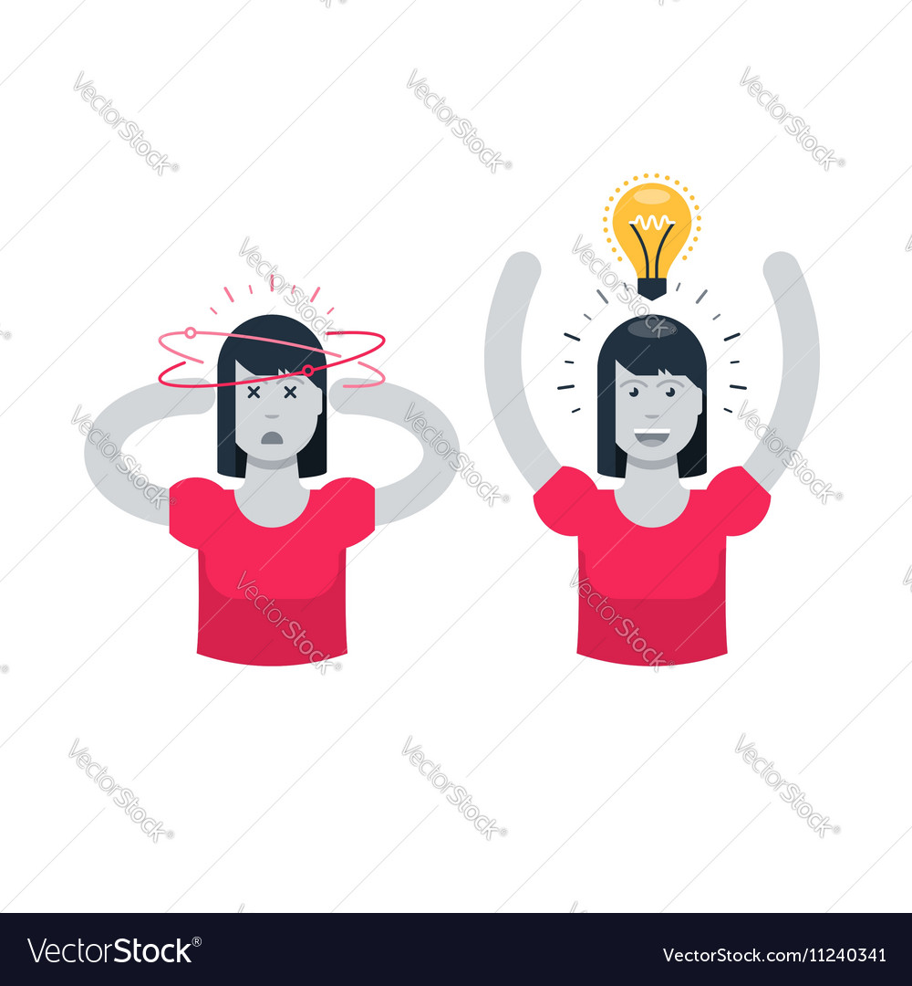 Tired woman and full of energy in comparison vector image