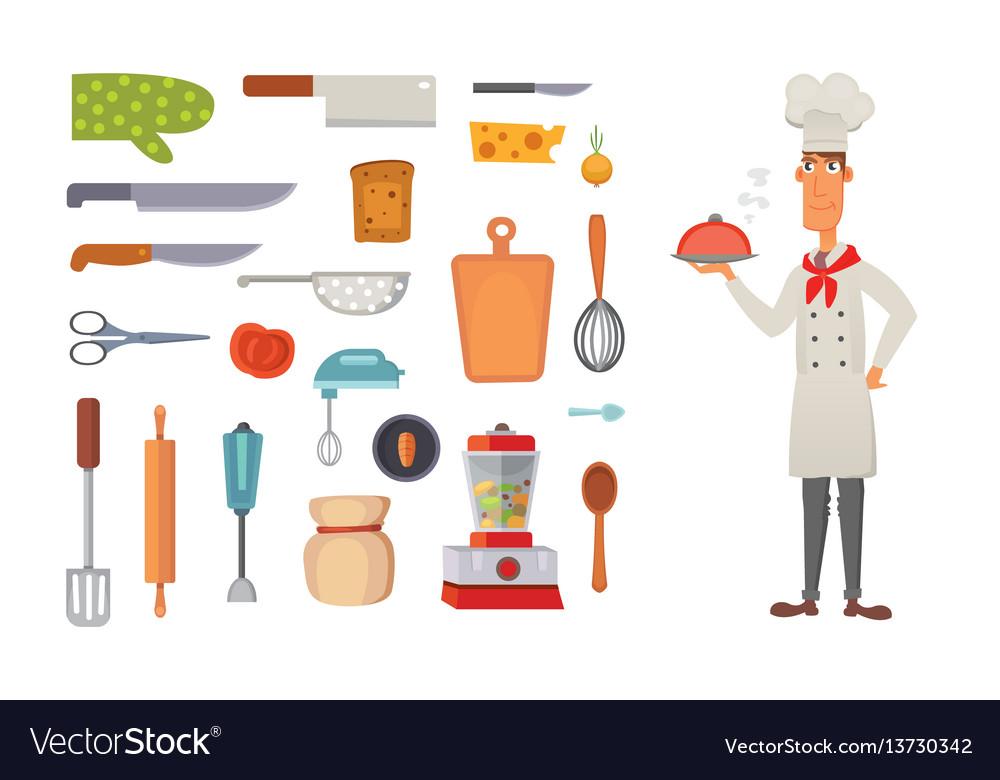 Set kitchen shelves and cooking utensils vector image