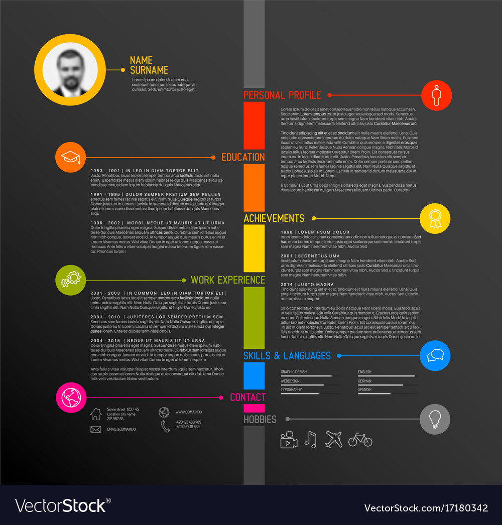 Timeline Minimalist Cv Resume Template Vector Image  Timeline Resume