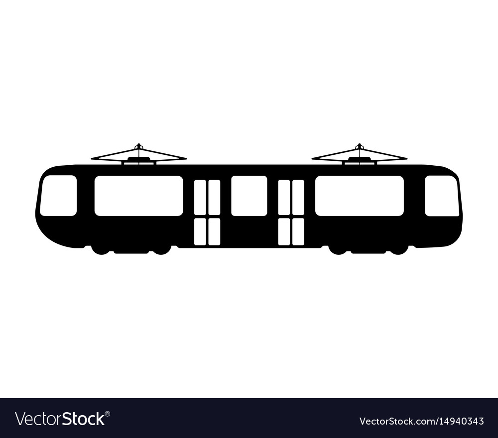 Tram flat icon and logo silhouette vector image