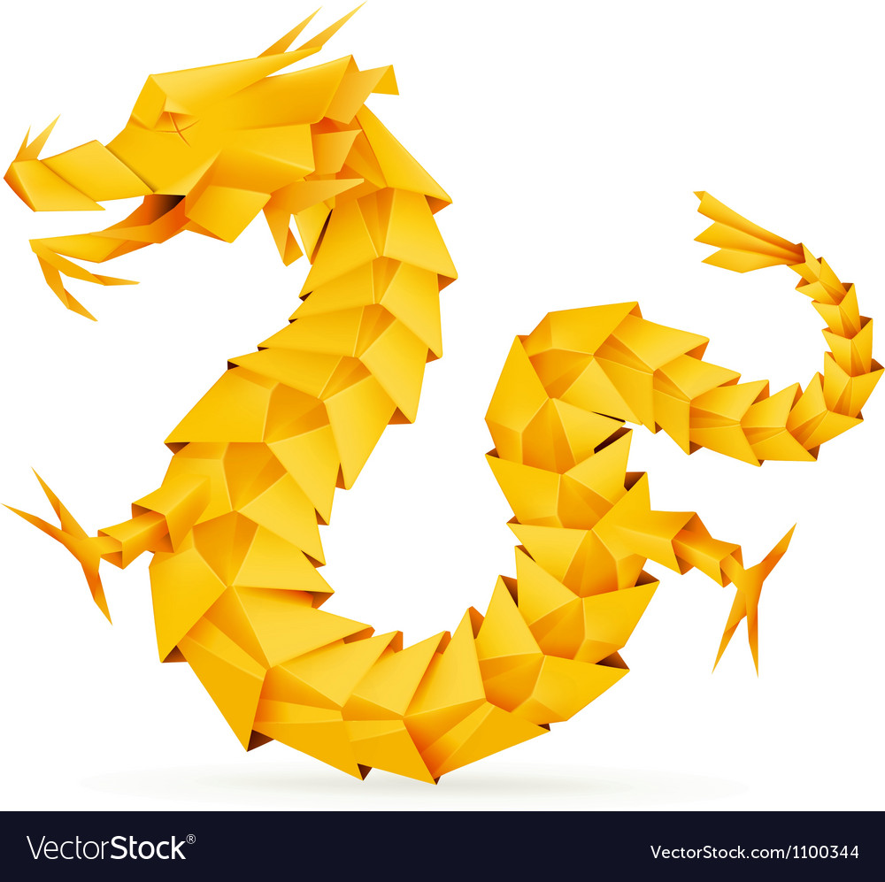 Origami dragon orange vector image