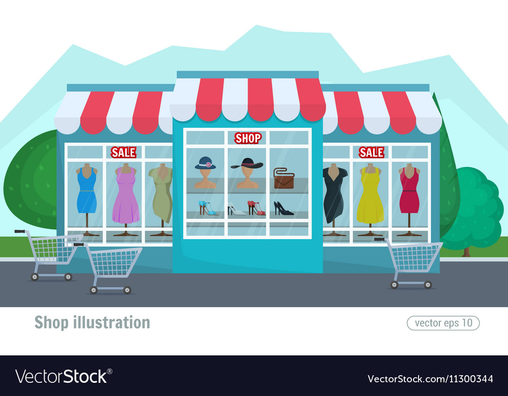 A clothing store Colorful decorative shop and vector image. A clothing store Colorful decorative shop and Vector Image